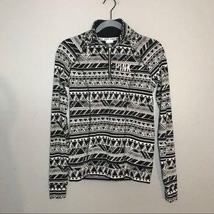 Pink VS geometric quarter zip up mock neck sweater
